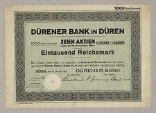 Dürener Bank in DÜREN – Sammelurkunde über 10 Aktien à 100 RM, 24. Okt. 1928