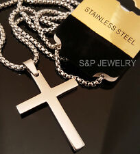 """New Stainless Steel Christian Cross Pendant & 24"""" Round Box Chain Necklace 128G"""
