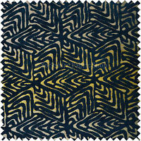 Navy Blue Gold Shiny Geometric 3D Chequer Cube Design Chenille Upholstery Fabric