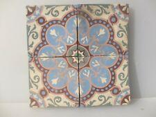 "Antique Ceramic Floor Tile Set Tiles Vintage Old Architectural Floral x4 6""W"