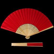 Handfächer Rot aus Bambus und Papier - Fächer Faltfächer Holz Kostüm einfarbig 1