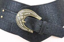 Rodeo Women Hip Wide Western Fashion Belt Black Faux Leather Bling Buckle M L