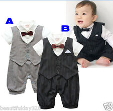 *Baby Boy Bow Tie Waistcoat Tuxedo Bodysuit Christening Wedding Babygrow Outfit*