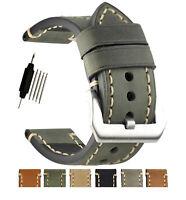 ZLIMSN Mens Watch Band Thicken & Lengthen 130+80mm Leather Watch Strap Calfskin
