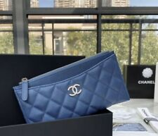 O Case Phone Wallet Card Holder Authentic Leather Blue With Pearl