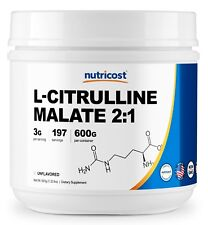 Pure L-Citrulline Malate (2:1) by Nutricost 600 Grams - 200 Serv
