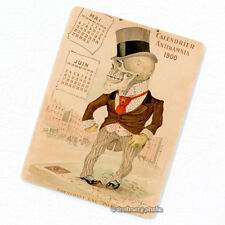 Antikamnia 1900 Calendar #3 Deco Magnet, Antique Illustration Skeleton Fridge