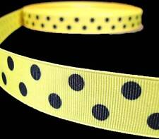"5 Yd Yellow Black Bumble Bee Polka Dot Polkadot Grosgrain Ribbon 7/8""W"
