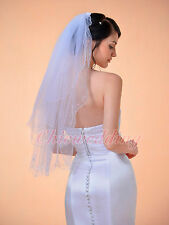 2T White Scallop Pencil Edge Elbow Length Embroidered Bridal Wedding Veil Comb