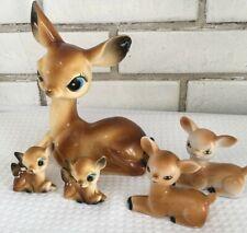 Vtge Deer Figures Celluloid 1 Mama 2 Babies Hong Kong & 2 porcelain Japan MCM