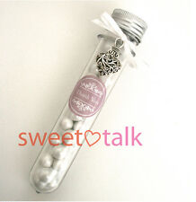 PERSONALISED WEDDING FAVOUR, WITH CHOCOLATE PEARLS - CANDY TUBE, LOLLY STICK