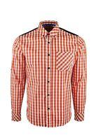 Dominic Stefano Buttoned Collar Check Smart Casual Mens - ( Orange Shirt 387 ).