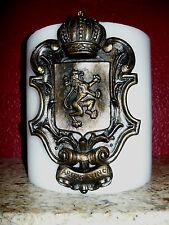 Shield Candle Pin Old World Medieval Lion Crown Fleur de Lis Cross Art Tack