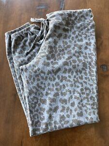 NEW Sundry Women's Large Leopard Cozy Tie-Waist Mid-Rise Knit Sweatpants Grey