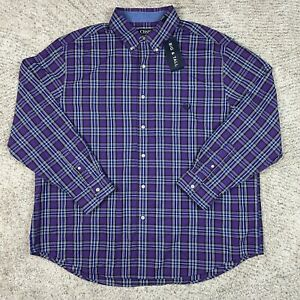 Chaps Button Shirt Mens 2XB 2XL Big Easy Care Ralph Lauren Dress Collared Purple