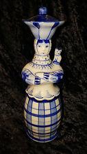 Vintage Russian Gzhel Porcelain Cat Lady Vodka Decanter Barware