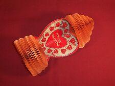 Antique Vintage Valentine's Day Card Honeycomb Decoration 1920s Heart