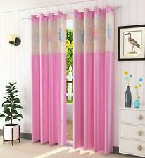 New Floral Net Polyester 7 ft Door Curtain (Pink) -2 Pieces
