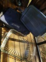 Anchor Hocking Savannah 9x13 Casserole Lasagna Baking Pan Cover Travel Bag