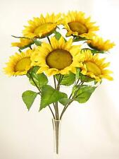 46cm Artificial Silk Flowers 7 Heads Yellow Sunflower Bush with Green Leaves