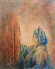 "ITZHAK TORDJMAN ""WOMAN PRAYING"" MIXED MEDIA ORIGINAL ON CANVAS H/S COA 18X22"