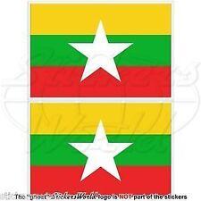 "MYANMAR Burma Flag, Burman Myanma, Burmese (4"") 100mm Bumper Decals, Stickers x2"