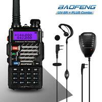 Baofeng UV-5R Plus VHF/UHF Dual-Band Handheld Ham Two-way Radio + Mic Speaker