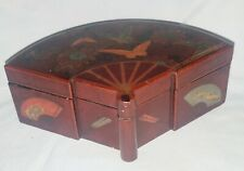 Unsual Japanese Fan Shaped Lacquerware Box