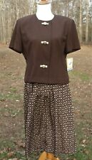Vintage Leslie Fay - Two Piece Brown Short Sleeve Outfit - Size 14P - NWT