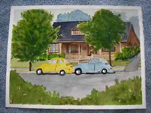 VINTAGE HOUSE STREET VOLKSWAGEN BEETLE YELLOW BLUE CARS AUTOMOBILES W/C PAINTING