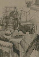 Val Hamer - Contemporary Pen and Ink Drawing, Studio Table