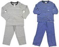 Mini Boden boys pyjama set blue white stripe jersey top bottoms age 2 - 12 new