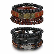 2 комплектов (8pcs), черный, коричневый, кожаный, мужская, женская сплетни из бисера манжеты браслет Браслет
