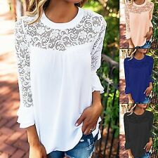 Womens Long Sleeve Lace Floral Chiffon T-Shirt Ladies Loose Tops Blouse UK 6-16