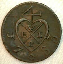 1783 Netherlands East Indies Island of Sumatra Copper Colonial 2 Kepings Coin