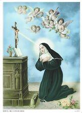 "Catholic Print Picture ST. RITA Cascia Nun w/ angels 7 1/2x10"" ready to frame"