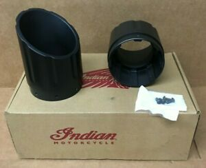 Indian OEM Black Six Shooter Exhaust Tips Chieftain Roadmaster Chief 2879530-266
