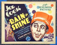 Rain Or Shine '30 Frank Capra Joe Cook Fazenda Circus Orig Comedy Title Card
