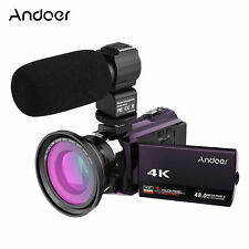 Andoer 4K Digital Video Camera Handheld DV, 3inch IPS Monitor 18X Camcorder with