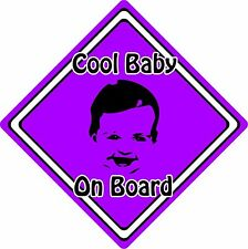 Cool Baby/Child On Board Car Sign ~ Baby Face Silhouette ~ Neon Purple