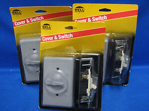 3x BELL Cover & Switch 5141-5 3 Way 1 Gang Switch Lever Gray Weatherproof