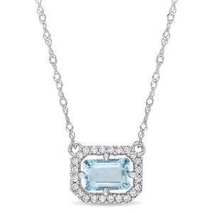 14K White Gold Aquamarine and Diamond Halo Necklace