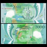 Vanuatu 2000 Vatu, 2014, P-14, Polymer, Banknote, UNC