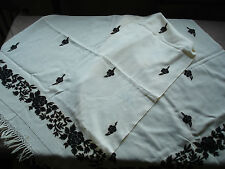 #666  Beautiful Vintage Embroidered Scarf  176cm/64cm(69''/25'')