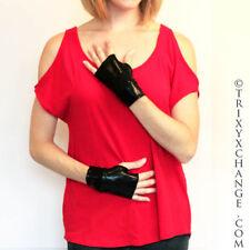Black Pvc Fingerless Gloves Shiny Arm Cuffs Oil Slick Wet Look Costume Latex O10