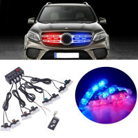 Wireless Car Flashing Grilles Light Red & Blue Strobe Lights 12V Remote control