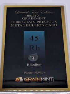 Rhodium Metal Crystal Pure 99.95% 1/10(0.10) Grain in Numbered Bullion Card