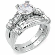 Simulated Diamond Engagement & Wedding Ring Sets with Gemstones