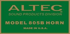 ALTEC LANSING Decal For 805B HORN Driver. A7  VOTT set of four (4)