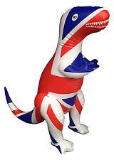 "Inflatable Dinosaur T-Rex 16"" H Union Jack, England, Mascot, Olympics"